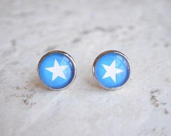 Star - Blue White Bridesmaid Stud Earrings