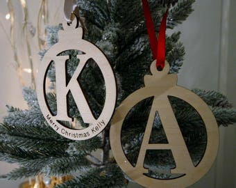 Wooden Christmas Letter Baubles