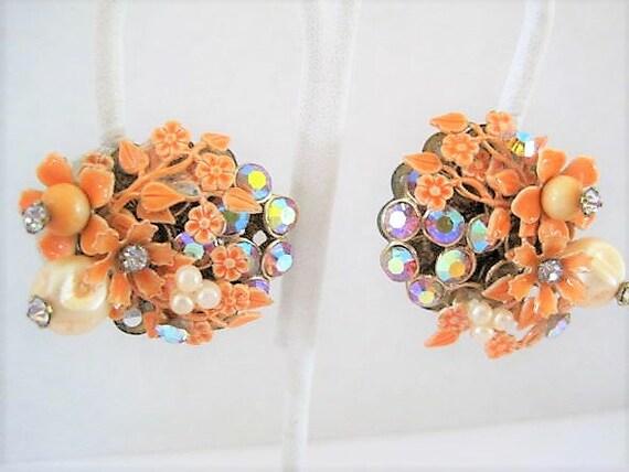 Miriam Haskell Style Earrings, Orange EnamelFloral, Pearl AB Rhinestones, Wired Back  Earrings