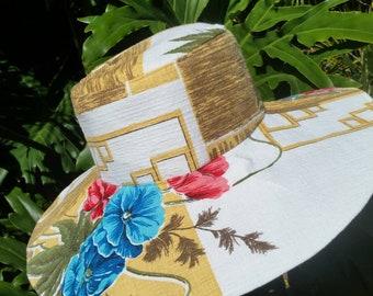 Size Large 61cm Vintage Fabric Sunhat. Cotton Sunhat. Wide Brimmed Sunhat. Reversible Hat. Handmade Sunhat. Womens Sunhat. Upcycled Sunhat.