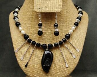 Onyx & Spike Druzzy Necklace