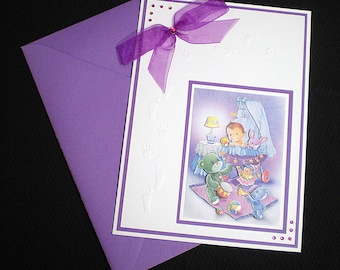 White and Purple Birth Cards
