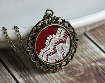 Unique Gift For Women, Art Nouveau Jewelry, Burgundy Necklace, Filigree Pendant With Lace