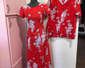 1970's hawaiian honeymoon his and hers dress and shirt set