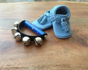 Leather Light blue baby moccs