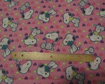 Pink Snoopy/Woodstock Heart Cotton Fabric by the Half Yard