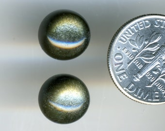 GOLDEN SHEEN OBSIDIAN  One Pair 10mm Round Cabochons High Grade