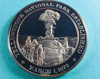 Franklin Mint Medal History Of United States Series: Yellowstone National Park Established 1872, 44 mm Bronze Mint Condition<>#PSY-363