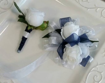 White Navy Blue and Silver Wrist Corsage with Matching Boutonniere  Artificial Flowers Ready To Ship Prom Set