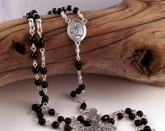 St Peregrine Rosary Beads Black Onyx with Holy Trinity Italian Crucifix Patron of Cancer Patients and Survivors by Unbreakable Rosaries