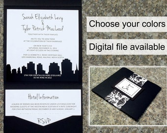 City Skyline Wedding Invitation Set with Pocket Folder and Monogram Belly Band