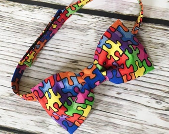 Little Man Bowtie- Autism Awareness Puzzle Pieces Baby/Toddler/ Young Boy Bow Tie