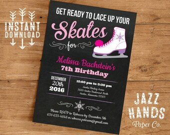 Ice Skating Birthday Invitation Template | DIY Printable | Ice Skating Party | Ice Skate Birthday Invitation | Instant Download | Printable