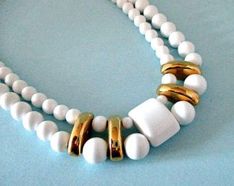 Vintage Bead Necklace - White Double Strand Necklace - 1980's Jewelry - Vintage Beads Jewelry Supply