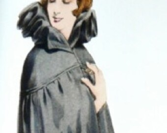1920s antique woman's cloak sewing pattern. Fantastical, theatrical, with personality