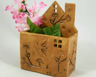 Ceramic house planter, house wall pocket, ceramic wall vase,little clay house, house desk caddy, succulent planter, pottery anniversary
