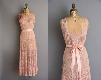 Dusty ROSE 1930s full lace art deco vintage wedding dress Medium Large vintage 30s dress