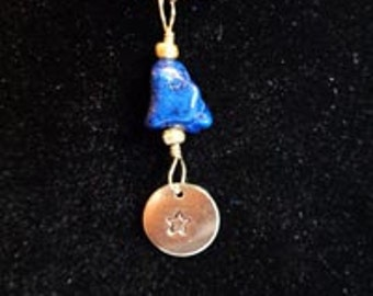 Pendant - Blue Stone Pendant with Stamped Brass Star - FREE SHIPPING