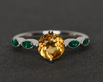 citrine ring yellow gemstone engagement ring round cut yellow crystal ring silver