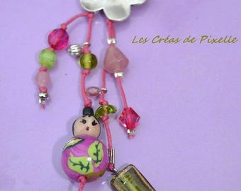 Necklace with polymer clay character