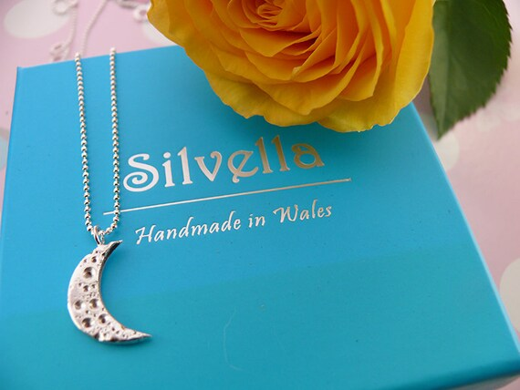 Silver Moon Necklace - Handmade in Wales - Gift for Her - Silver Necklace