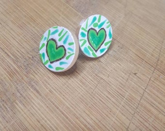 Show Your Love for Mental Health Awareness Wood Stud Earrings Wood Studs Wood Stud Earring Circles Multi