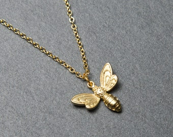 Bee Necklace, Gold Bee necklace, Insect Necklace, Bee charm, Gold charm necklace.