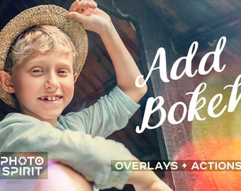 Add Bokeh Overlay Photoshop Actions — Package of Overlays in JPG with quick Actions, Photo Collection, Texture Pack Download