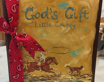 Little Cowboy Adoption Baby Memory Book
