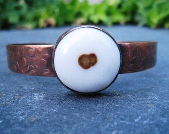 Polda Dot Agate, Oxidized Copper Cuff, Copper Bracelet, White and Brown Gemstone, Oxidized Copper Bracelet, Rustic Copper Cuff, Boho Cuff