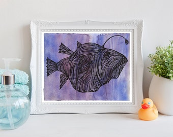 Anglerfish Printable Art, Fish Wall Art, Instant Download, Ocean Print, Beach Decor, Coastal Poster, Nautical Decor, Watercolor Art, 8x10