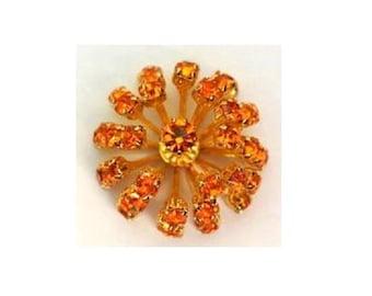 SWAROVSKI Blume Perle 30mm Gold geflochten Antik Vintage-Metall mit Orange Kristalle-selten