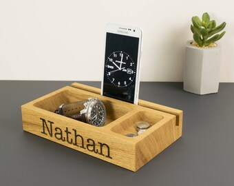 Personalised Wooden Phone Holder Tray, Oak Catchall, Tablet Stand, Office Desk, Bedside Organiser, Gift for Him, Dad, Husband, Boyfriend