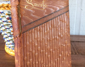 C. 1890 Antique Leather Book Lucile by Owen Meredith Thomas Y Crowell & Co New York - Unique Embossed Cover
