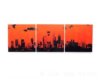 Philadelphia Skyline 3 Piece Triptych (Orange and Black) 3 x 1 Ft. Philly Cityscape Screen Print and Painting Large Wall Art
