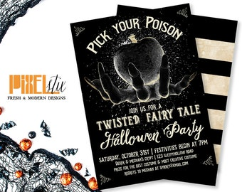 Pick Your Poison - Twisted Fairy Tale Halloween Party Invitation - Halloween Invitation - Halloween Party Invitation - Chalkboard Invitation