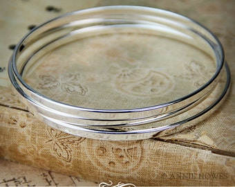 Shiny Silver Plated Stacking Bangle Bracelet. Adorn with A Charm for An Easy Gift. BBFL-SSB