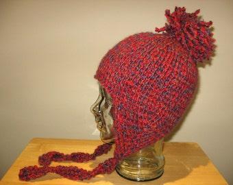 Hand Knit Ear Flap Aviator Hat 'caravan'