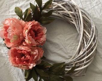 Bright Spring Wreath, Summer Wreath, Rustic Wreath