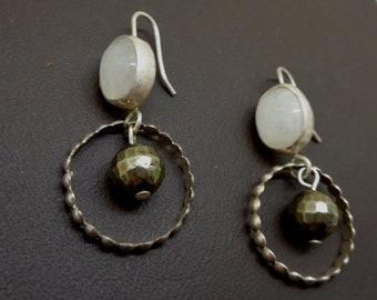 Moonstone and Pyrite Sterling Silver Textured Hoop Handmade Earrings - OOAK
