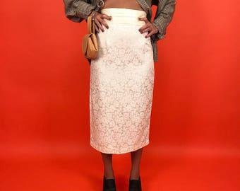 Satin off white brocade pencil midi skirt S