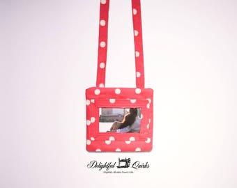 Cross Body Pouch, Zippered Cell Phone Holder, Photo Pocket Phone Pouch, Small Cross Body Pouch, Gift for Her, Gift for Grandma, Shoulder Bag