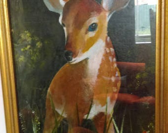 Gorgeous framed oil painting of a young deer fawn Bambi