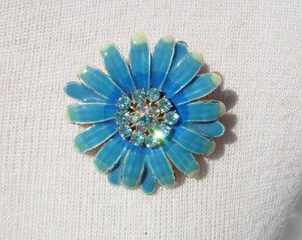 Vintage Blue Enamel and Rhinestone Flower Brooch, Pin or Pendant