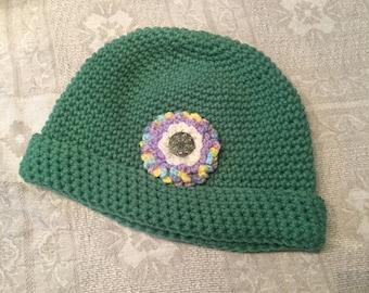"Hand-crocheted women's knit hat ""toque"""