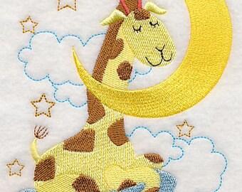 SLEEPY GIRAFFE & MOON Kids Scene Zoo Animal Scene Machine Embroidered Quilt Square, Wall Art Panel