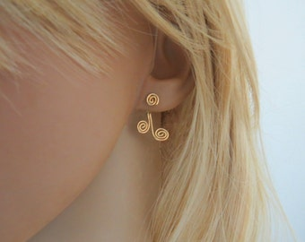 Ear jacket gold front back earrings, spiral earrings, asymmetrical earrings, bohemian earrings gold filled