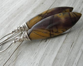Red Creek Jasper Wire Wrapped Sterling Silver Earrings