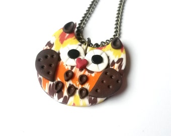 SALE! Owl Necklace ( owl pendant brown owl necklace owl jewelry bird necklace orange owl charm polymer jewelry owl charm necklace )