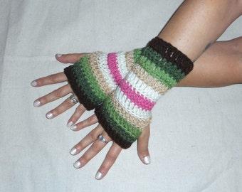 WATERMELON.  Earthy Striped boho crochet gloves fingerless handmade arm warmers texting, smoking fingerless gloves made with acrylic yarn